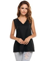 Black Women Casual V-Neck Lace-up Lace Hollow Out Patchwork Chiffon Tank