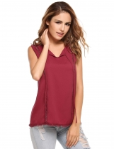 Wine red Front Key Hole V-Neck Hollow Out Chiffon Tank Tops