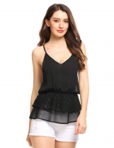 Black Spaghetti Strap Double Layers Hem Sleeveless Chiffon Camisole Top