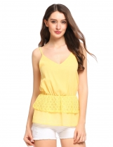 Yellow Spaghetti Strap Double Layers Hem Sleeveless Chiffon Camisole Top