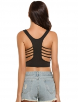 Black Hollow Out Sleeveless O Neck Solid Slim Crop Top