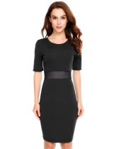 Black Mesh Patchwork Waist Perspective Elastic Dress