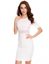 White Mesh Patchwork Waist Perspective Elastic Dress