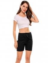 Black Solid Slim Drawstring High Waist Beach Shorts