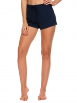 Dark blue Drawstring Waist Solid Beach Bottom Swim Board Shorts