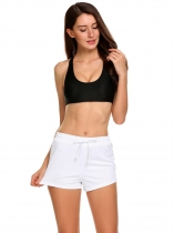 White Drawstring Waist Solid Beach Bottom Swim Board Shorts