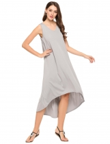 Grey Sleeveless Solid V Neck Low-High Hem Maxi Dress