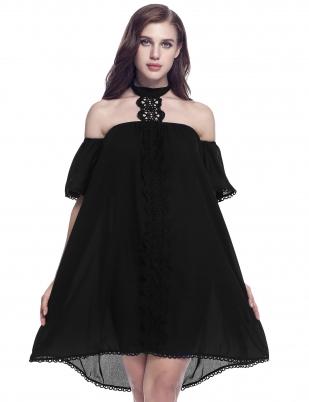 Black Grecian Neck Loose Patchwork Dress