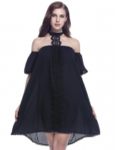 Halter Off the Shoulder Appliques floraux Hem Lace Loose Dress