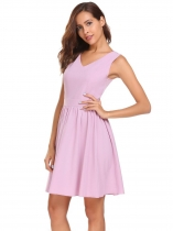 Rose Pink Sleeveless V-neck Slim Solid Pleated Dress