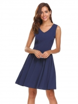 Blue Sleeveless V-neck Slim Solid Pleated Dress