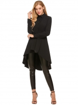 Black Swallowtail Hem Button Down Collar Long Sleeve Solid Shirt