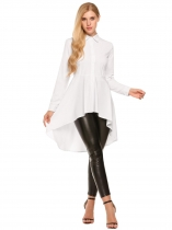 White Swallowtail Hem Button Down Collar Long Sleeve Solid Shirt