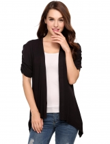 Black Solid Ruched Short Sleeve Shark Bite Hem Cardigan