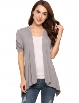 Grey Solid Ruched Short Sleeve Shark Bite Hem Cardigan