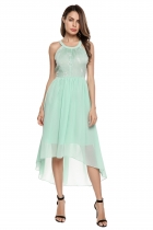 Light green O-Neck Sleeveless Embroidery Asymmetry Dress