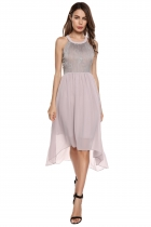 Light purple O-Neck Sleeveless Embroidery Asymmetry Dress
