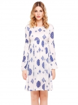 White Long Sleeve Print Pleated Neck Dress