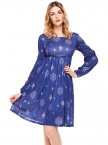 Navy blue Long Sleeve Print Pleated O Neck Dress