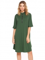 Army green Half Sleeve Front Zipper Solid Split Loose Dress