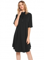 Black Half Sleeve Front Zipper Solid Split Loose Dress