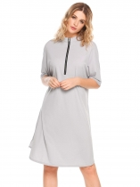 Light gray Half Sleeve Front Zipper Solid Split Loose Dress