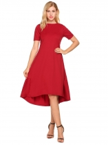 Wine red O-Neck Solid Asymmetrical and Ruffle Hem Dress