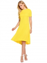 Yellow O-Neck Solid Asymmetrical and Ruffle Hem Dress