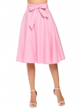 Pink Bow Belt Solid Pleated Back Zipper Retro Style Skirt