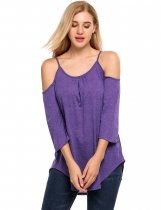 Purple Long Sleeve Spaghetti Strap Solid Loose Casual Tops