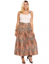 Orange Plus Size Bohemian Style High Waist Long Culottes Wide Leg Pants