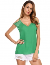Green V-Neck Cold Shoulder Solid Loose Fit Chiffon Tops