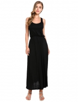 Black Sleeveless Solid Casual Long Maxi Tank Casual Dress