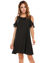 Black Women Fashion O-Neck Cold Shoulder Loose Dress