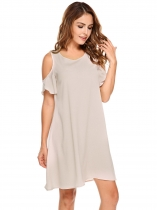 Nude O-Neck Cold Shoulder Loose Shift Dress