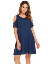 Námořnická modrá Women Fashion O-Neck Cold Shoulder Loose Dress