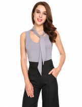 Gray Crew Neck Bow Tie Sleeveless Solid Slim Sports Tank Tops