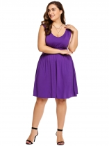 Purple Plus Size Solid Elastic High Waist Sleeveless Swing Dress