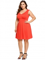 Orange Plus Size Solid Elastic High Waist Sleeveless Swing Dress