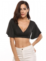 Black Bell Short Sleeve V-neck Back Bow Belt Crop Tops