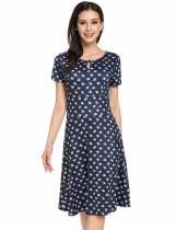 Dark blue O-Neck Short Sleeve Animal Prints A-Line Pleated Hem Casual Dress