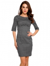 Black Half Sleeve Polka Dot Stretchy Bodycon Dress