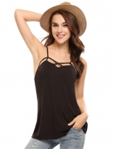 Black Backless V Neck Solid Loose Pullover Camisole Tops
