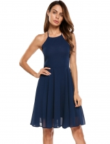 Navy blue Backless Solid Spaghetti Strap Skater Dress