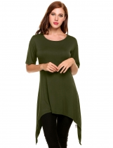 Army green Asymmetrical Pleated Hem Mid-Long Elastic Pullover T-Shirt