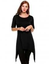 Black Asymmetrical Pleated Hem Mid-Long Elastic Pullover T-Shirt