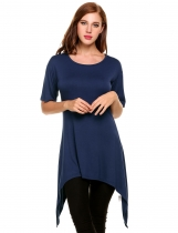 Navy blue Asymmetrical Pleated Hem Mid-Long Elastic Pullover T-Shirt