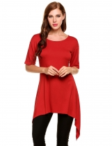 Red Asymmetrical Pleated Hem Mid-Long Elastic Pullover T-Shirt