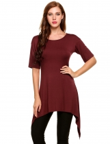 Wine red Asymmetrical Pleated Hem Mid-Long Elastic Pullover T-Shirt