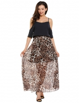 Black Cold Shoulder Half Sleeve Leopard Chiffon Patchwork Dress